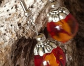 Fireball Orange Glass Earrings, Crackle Glass, Resort
