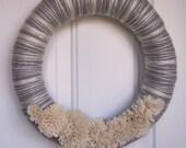 Grey Yarn Wreath With Cream Colored Felt Flowers, Winter Flurry Ready to ship