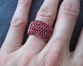 Wide Red Mesh Ring
