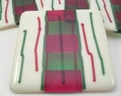 Fused Glass Coaster Set - Christmas Ribbon