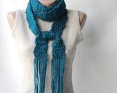 Teal crochet scarf Wool blend long scarf Deep teal Winter accesories Gift for mothers day - violasboutique
