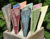 Herb Garden Stakes / Plant Markers - A set of 3 pottery garden markers