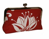 Floral bloom - White flower on red cotton fabric clutch purse bag, floral, bridal, wedding - BlackGipsy