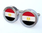 Egypt Flag Cufflinks -- Gift for Egyptian wedding, groomsmen, and university graduation