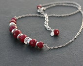 Red Ruby gemstone and sterling necklace