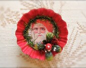 Vintage Santa Tart Tin Ornament