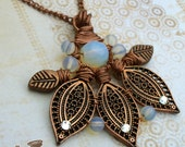 Pendant Antique and Raw Copper Sea Opal Wire Wrapped with Chain