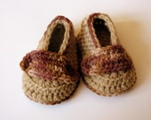 Baby Booties Baby Boy Loafers Hand Crochet Tan Brown sizes Made To Order