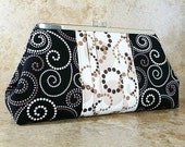 Clutch Bag - Black and Brown Swirls