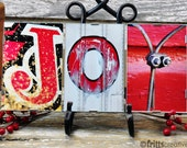 JOY Red Holiday Decor Framed , Alphabet Photography, 3 Photo Letters, Decoration