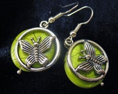 Green Mother of Pearl Butterfly Dangle Earrings