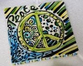Peace, Grow & Be Free Hand-Painted Bright and Colorful 3 Piece Coaster Set