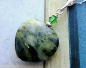 Connemara Marble Pendant . Heart Pendant with Emerald Swarovski Crystal & Fine Silver Chain. Croí