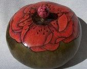 Large sage green gourd box with single red poppy lid