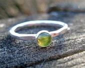 Handmade sterling silver ring Peridot stacking ring solitaire stackable August birthstone