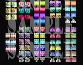 Scrolly Swirlie Earring Earrings Digital Collage Sheet Half Inch Squares Digital Earring Jewelry Matches Pendants  Embellishment 196