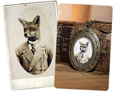 Gift Set,  Young Mr. Fox 8x12 Print AND Locket, Free Worldwide Shipping