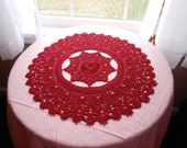 "Deep Red Maroon 15"" handcrochet doily"