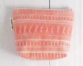 medium cotton zip pouch - Coral Market Weave