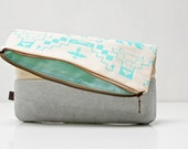 Navajo Printed Leather-Suede Pouch native aztec aqua