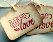 baked with love, food tags, homeade foody labels set of 12