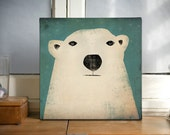 POLAR BEAR Potrait Graphic Wall Art Gallery Wrapped Canvas Panel 12x12x1.5 inch  signed Ready to Hang