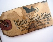 Christmas Tags, Primitive, Rustic, Sleigh Rides, Set of 12, cssteam, ofg team