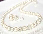 Bridesmaid Jewelry SET, Bridesmaid Jewellery SET. Ivory Pearl Jewellery SET. Pearl and Rhinestone Necklace Earrings Set, Bridesmaid Necklace