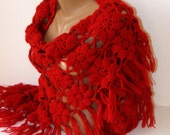 15% OFF SALE Red crochet shawl,lace chrochet women shawl,Winter trend,special mohair yarn,warm,soft,mohair shawl,gift for her,SENO