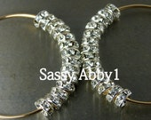 SALE Basketball Wives Celebrity Inspired Rhinestone Beaded Hoop Earrings (SMALL) - Silver and Gold