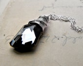 Crystal Necklace, Swarovski Crystal Wire Wrapped Sterling Silver Pendant and Chain Black Diamond