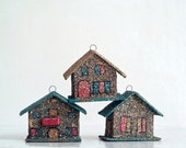 Vintage Cardboard Christmas Glitter House Ornaments from 5gardenias