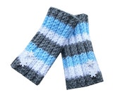 Holiday Fingerless Gloves - Hand Knit in Grey, Blue, and Sparkly White with Snowflakes Buttons