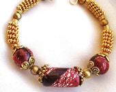 Gold Wire Wrapped Bracelet with Designer Red Clay Beads