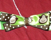 Green & Brown Polka Dots Monkey Hair Bow