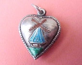 Lovely 1940's Sterling Silver Puffy Heart Charm with Enameled Windmill