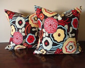 "Pillow Covers-PAIR 18"" x 18"" Multi-Colored Red Floral"