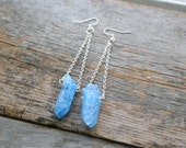 Ice Blue Quartz Point Earrings