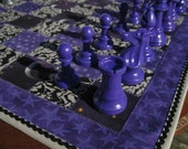Wizard Chess.  Purple and Silver Quilted Chess Board with Staunton Chess Pieces.  Roll up and take along.
