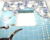 Blue mosaic mirror ,Christmas gift  under 100 for her