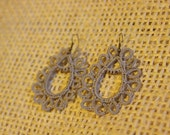 Grey Tatted Paisley Design Earrings - Taupe and Copper - Huang