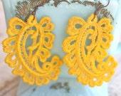 Vintage Yellow Lace Paisley Dangle Earrings