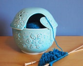 winter yarn bowl, in sky blue with snowflakes
