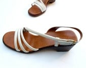 80s Vintage Strappy Sandals Ivory Leather 7.5 B Corelli - BlueRoseRetro