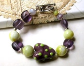 Eclectic Purple and Lime Heart Lampwork Bracelet - Heartfelt