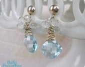 Yvetta Earrings- Blue Topaz, White Topaz, Sterling Silver