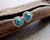 Blue Post Earrings. Sterling Silver Studs Globe Earrings. Elegant Earrings w/h Turquoise Cracked Stone