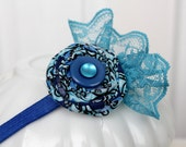 The Blues Lace Headband - Turquoise, Blue and Navy with Pearl and Lace, fits Infant and Toddler