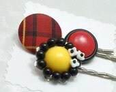 Black Red and Yellow Bobby Pin Set Eco-Friendly Upcycled Vintage - emmjeyessvintage