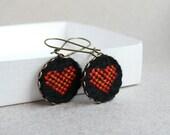 Cross stitch earrings Hearts - Valentine's Day jewelry